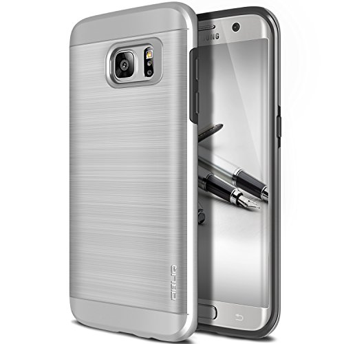 Galaxy S7 Edge Case, OBLIQ [Slim Meta][Satin Silver] Slim Fit Premium Dual Layer Protection Case with Metallic Brush Finish Back with Shock Absorbing TPU Inner Layer for Samsung Galaxy S7 Edge