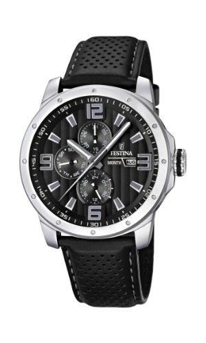 Festina Men's F16585/4 Black Leather Quartz Watch with Black Dial