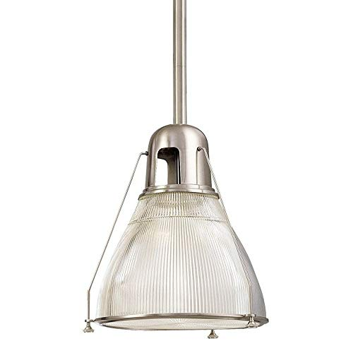 Haverhill 1-Light Pendant - Satin Nickel Finish with Clear Prismatic Glass Shade