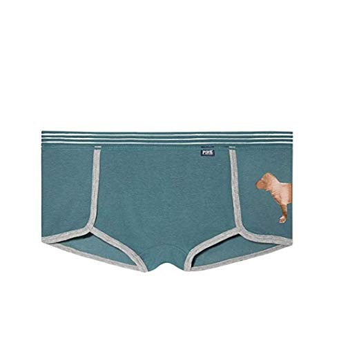 - Victoria's Secret Pink Sheer Stripe Waist Boyshort Panty Status Blue (Medium)
