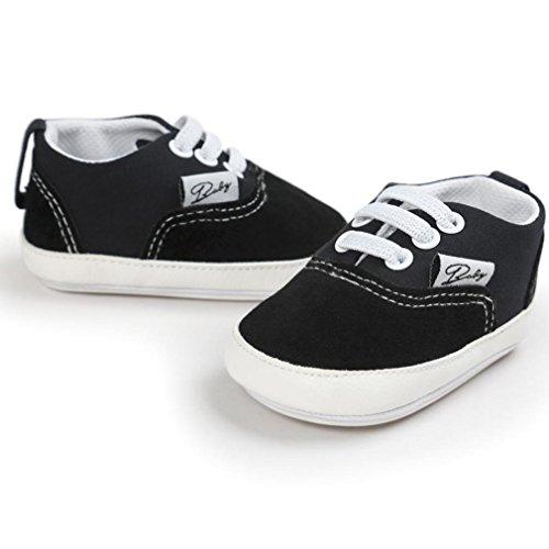 Zapatos Bebé SMARTLADY Infantil Recién Del Niño Zapatillas de lona Negro