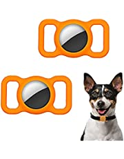 APOSU 2Pcs Silicone Protective Case for Airtags Finder Scratch Pet Loop Holder for Air_Tag Adjustable GPS Tracking Dog Cat Tracker Accessories Anti-Lost Locator Cover for Pet Collar (Orange)
