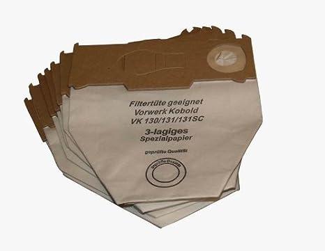 10 bolsas para aspiradoras Vorwerk Kobold 130 131 131SC de varias capas: Amazon.es: Hogar