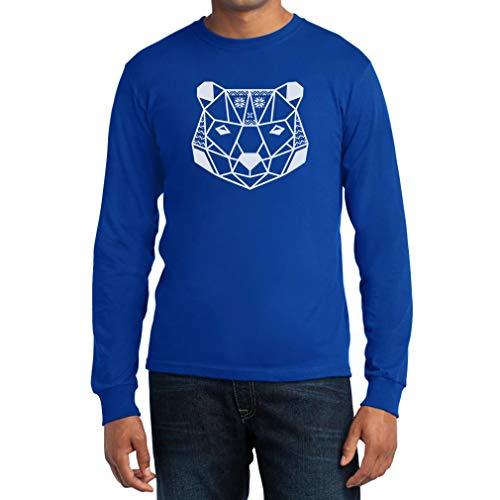 Natalizio Geometrico Con Neve Orso Blu Shirtgeil Lunga Manica Di Fiocchi Maglia Uomo 5qEZU
