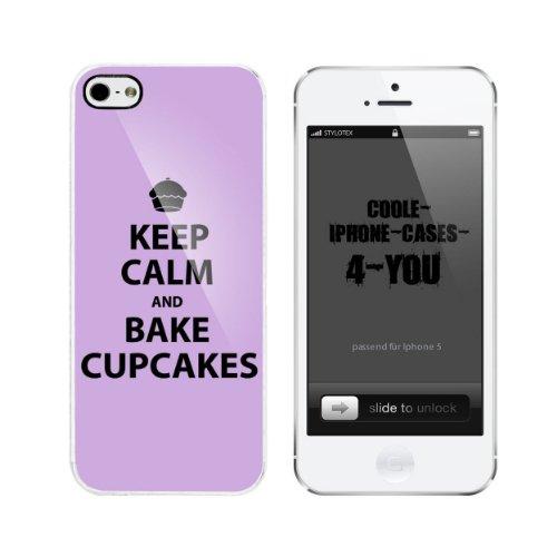 Iphone 5 / 5S Schutzhülle Keep Calm and bake Cupcakes - weisser Rahmen