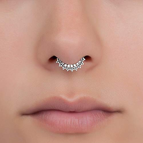 Amazon Com Tiny Fake Septum Nose Ring Sterling Silver Tribal