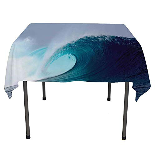 Ocean Table Cloths Spill Proof Tropical Surfing Wave on a Windy Sea Indonesia Sumatra Custom tablecloths Rectangle Tablecloth 60 by 84 inch