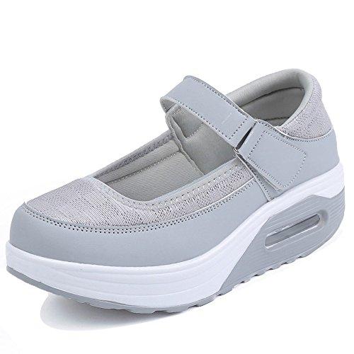 augmenter Gris Hauteur Sneaker Shape Fitness Strap Xmeden Marche Chaussures Plateforme Femmes Mesh Ups Pu xFqw6zOna