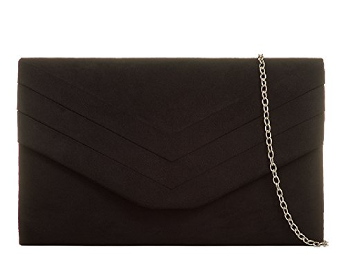 Suede Pleated Evening Black Women's Faux Kl809 Envelope Ladies Purse Bag Handbag Clutch HY5USwqw