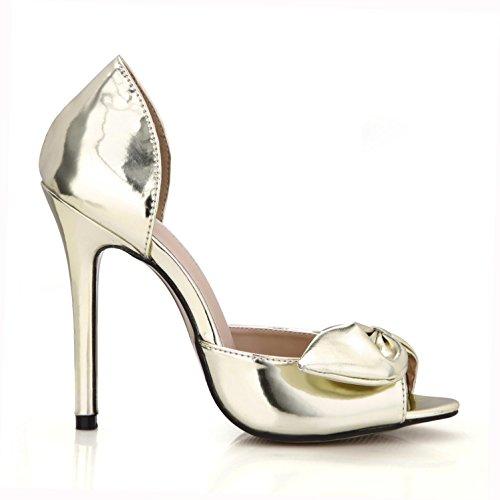 Bedste Frilly Kvinder Sko Sommer Pu Guld Lynlås Grundlæggende Pumper Eu38 Spejl 4u® Gyldne Sølv Gummisål Højhælede 12cm Bue Sandaler dXzpdqw