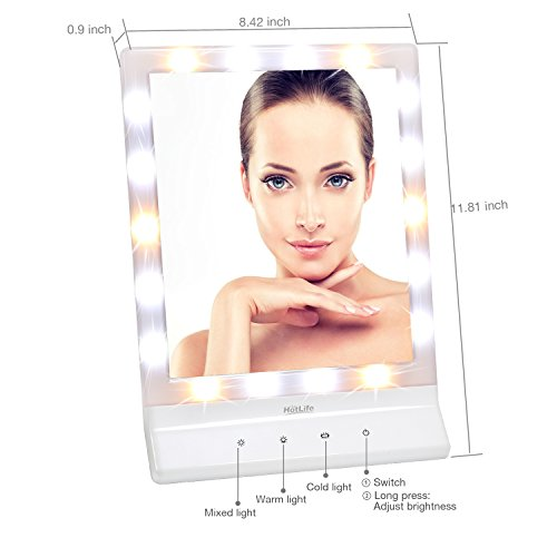 Hotlife Led Lighted Makeup Mirror With  Dimmable Led Lights Touch Switch Cosmetic Mirror And Large Screen Amazon Co Uk Kitchen Home