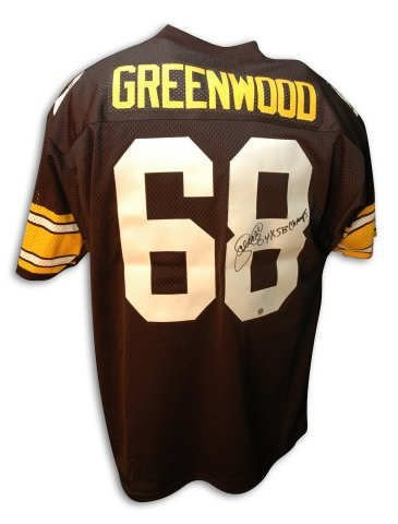 Lc Steelers Greenwood (Autographed LC Greenwood Pittsburgh Steelers Throwback Jersey Inscribed 4X Sb Champs - 100% Authentic Autograph - Genuine NFL Signature - Perfect Sports Gift)