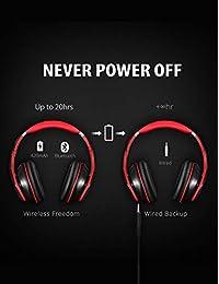 Audífonos Mpow Bluetooth supraaurales, audífonos inalámbricos Hi-Fi estéreo, plegables, cojinetes para orejas con proteína de memoria, con micrófono integrado y en modo alámbrico para PC teléfonos celulares TV