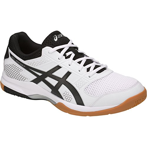 - ASICS Gel-Rocket 8 Men's Volleyball Shoes, White/Black/Silver, 8 D(M) US