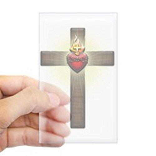 CafePress Sacred Heart of Jesus Cross Sticker Rectangle Bumper Sticker Car Decal