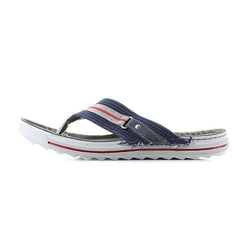 INBLU Men's Piston Flip Flops, Grey Blue