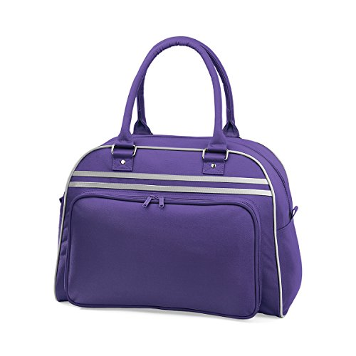 BagBase Borsa a mano bowling da Donna Retro bag 44x31x25cm 23L Black White Purple/ Light Grey