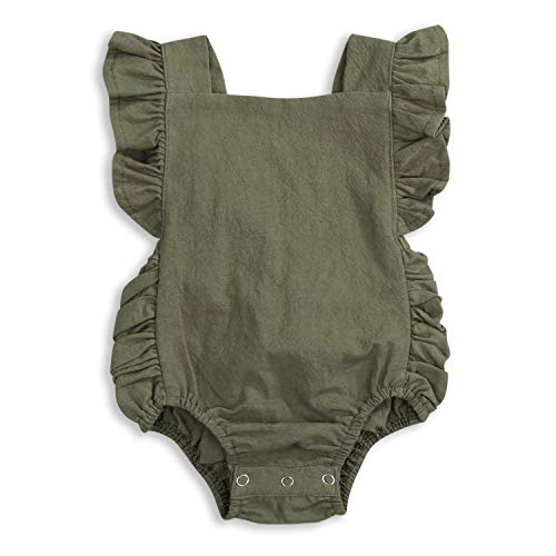 (KCSLLCA Baby Girls Romper Solid Color Ruffle Sleeveless Backless Onesies (Olive Green, 12-18 Months) )