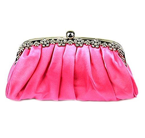 main de pour LeahWard Ladies à 098 Moyen en soirée femme 27x6x14cm Sacs Pochette Sacs Wedding satin NUDE Nuptiale Pink zzHOg