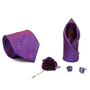 Axlon Men Formal/Casual Jacquard Neck Tie Pocket Square Accessory Gift Set with Cufflinks and Lapel Pin – Purple (Free…