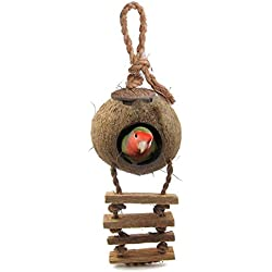 SunGrow Bird House - Beautiful Nesting Home and Bird Feeder - Natural Textures Encourage Foot and Beak Exercise - 100% Natural Coconut Husk - Sustainable Materials - Durable Habitat