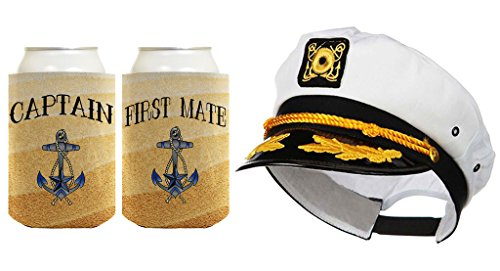 23d38e97c8417 ThisWear Captain Hat Yacht Cap Funny Beer Coolie Captain and First Mate Can  Coolie Bundle