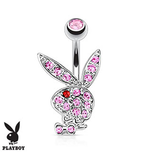 - Multi Colored Gems on Playboy Bunny 316L Surgical Steel Navel Ring (Sold by Piece)