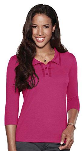 Tri-Mountain Peyton Jersey 3/4-Sleeve Polo Shirt, XL, BERRY/DARK BERRY (Long 3/4 Shirt Sleeve Sport Sleeve)