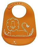 modern-twist Lion Waterproof Silicone Baby Bucket Bib with Adjustable Strap, Plastic Free, Wipe Clean and Dishwasher Safe, Orange