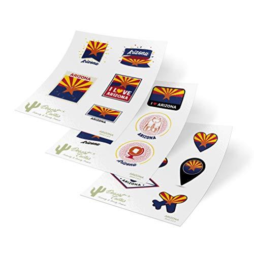 Arizona State Flag Stickers Decals 3 Sheets 17 Total Pieces Kids Logo Scrapbook Car Vinyl Window Bumper Laptop 3 Sheets