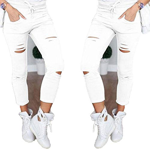 (OEMNCD Women Denim Pants Holes Knee Pencil Pants Casual Trousers Black White Stretch Ripped Jeans)