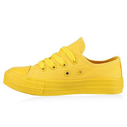Stiefelparadies Kinder Sneakers Stoffschuhe Denim Jeans Sneaker Low Schnürschuhe Turnschuhe Sportschuhe Flandell Gelb Gelb