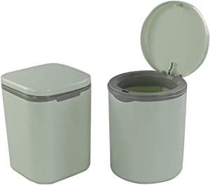 Morcte 2-Pack 0.5 Gallon/ 2 L Tiny Desktop Trash Can with Push Button Lid, Green