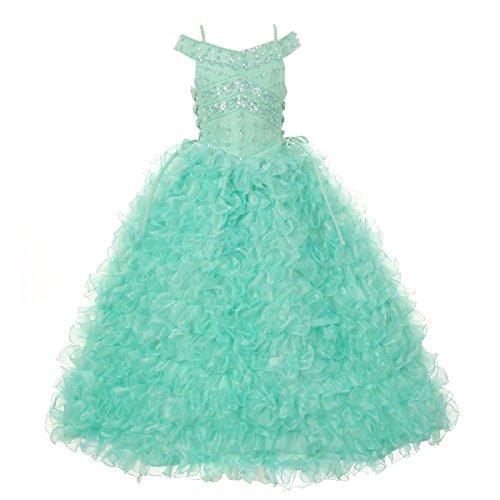 Rain Kids Little Girls Mint Beads Straps Ruffle Organza Pageant Dress 6 by The Rain Kids