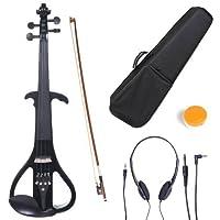 Cecilio 4 /4CEVN-4BK Violín eléctrico /silencioso metálico negro de madera maciza con accesorios de ébano en estilo 4 (tamaño completo)
