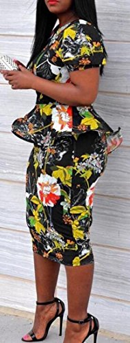 Party Bodycon Short Floral Womens Dress Print Peplum 1 Sleeve Jaycargogo v1ap0qwv