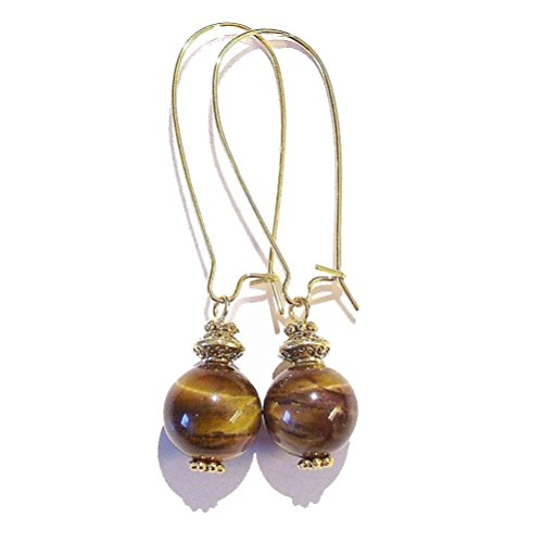 Tiger's Eye & Antique Gold-Tone Earrings