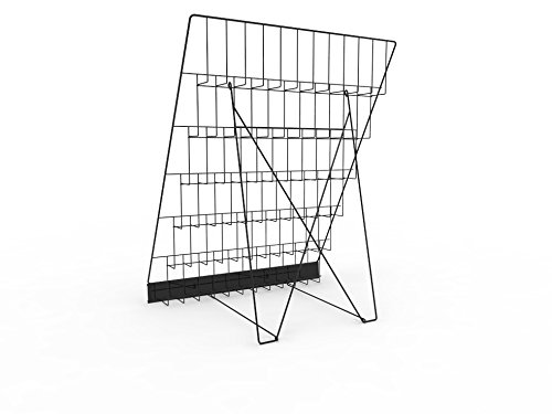 FixtureDisplays 6-Tiered Wire Display Rack for Tabletops, 2.5'' Open Shelves, with Header - Black 119355