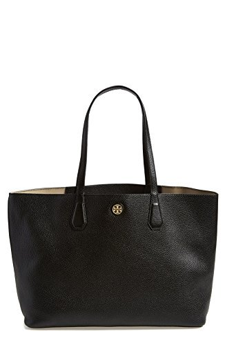Tory Burch Perry Leather Tote Bag, Black/Beige by Tory Burch