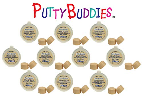 Putty Buddies Floating Earplugs 10-Pair Pack - Soft Silicone Ear Plugs for Swimming & Bathing - Invented by Physician - Keep Water Out - Premium Swimming Earplugs - Doctor Recommended (Tan) by Putty Buddies (Image #1)