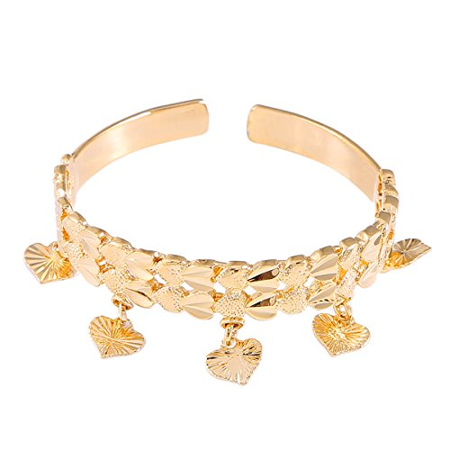 Engraved Heart Cuff Bangle Kids Baby Boy Girl Jewelry Bangles Gold Color Ethiopian Heart Charm Jewelry ()