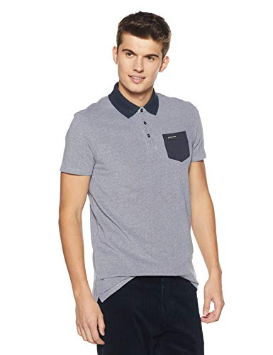 - Scotch & Soda Men's Polo in Two-Tone Pique Quality with Contrast Chest Pocket, Night Melange XL