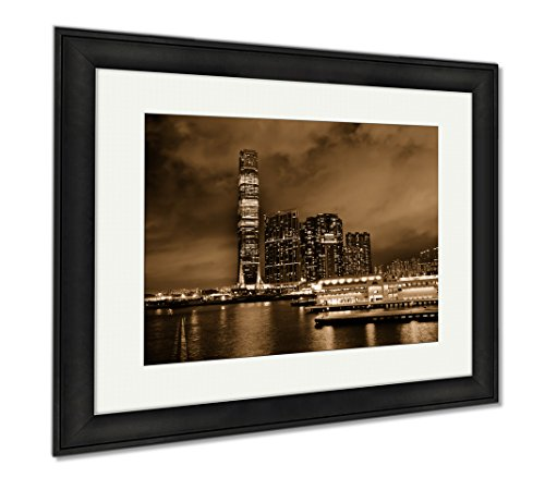 Ashley Framed Prints International Commerce Center Icc Building Kowloon Hong Kong Harbor At Night, Wall Art Home Decoration, Sepia, 26x30 (frame size), Black Frame, - Finance Hong International Kong Centre