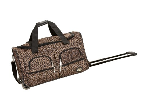 Rockland Luggage 22 Inch Rolling Duffle Bag, Brown Leopard, Medium
