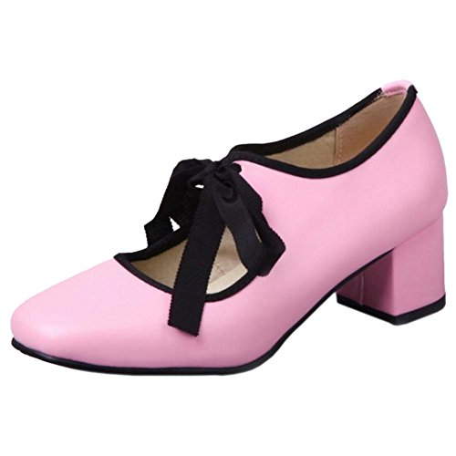 COOLCEPT Women Chunky Heels Court Shoes Pink yJQLC