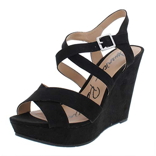 Price comparison product image American Rag Womens Rachey Open Toe Ankle Strap Wedge Pumps,  Black,  Size 6.5