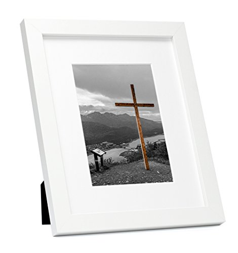 Frametory, 8x10 White Picture Frame - Made to Display Pictures 5x7 Photo with Ivory Color Mat - Wide Molding Real Glass - Built in Hanging Features (8x10, White)