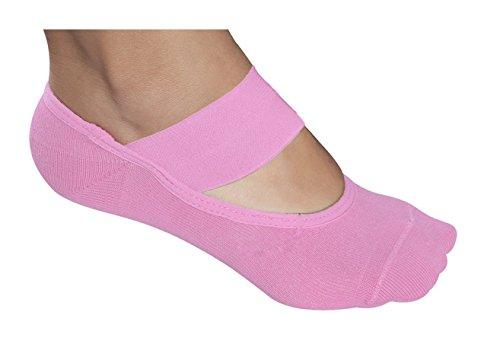Lupo Women's Essential Wide Strap Yoga Barre Pilates Grip Socks, One-Size Purple