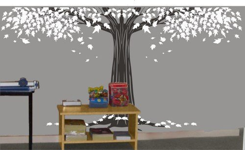 Vinyl Wall Decal Z840 Big Large White Maple Tree With Leaf Trees Truck Cubs Home House Art Wall Decals Stickers Baby Room Kid