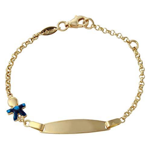 14k Yellow Gold Baby Boy ID Link Bracelet, 6